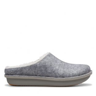 Clarks Womens Step Flow Clog Grey Slippers